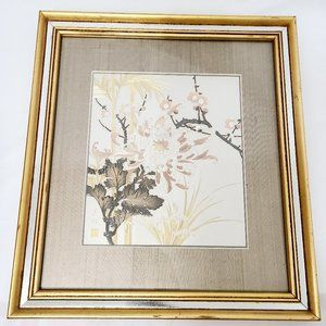 Japanese Gold and Silver Chokin Art of Flowers